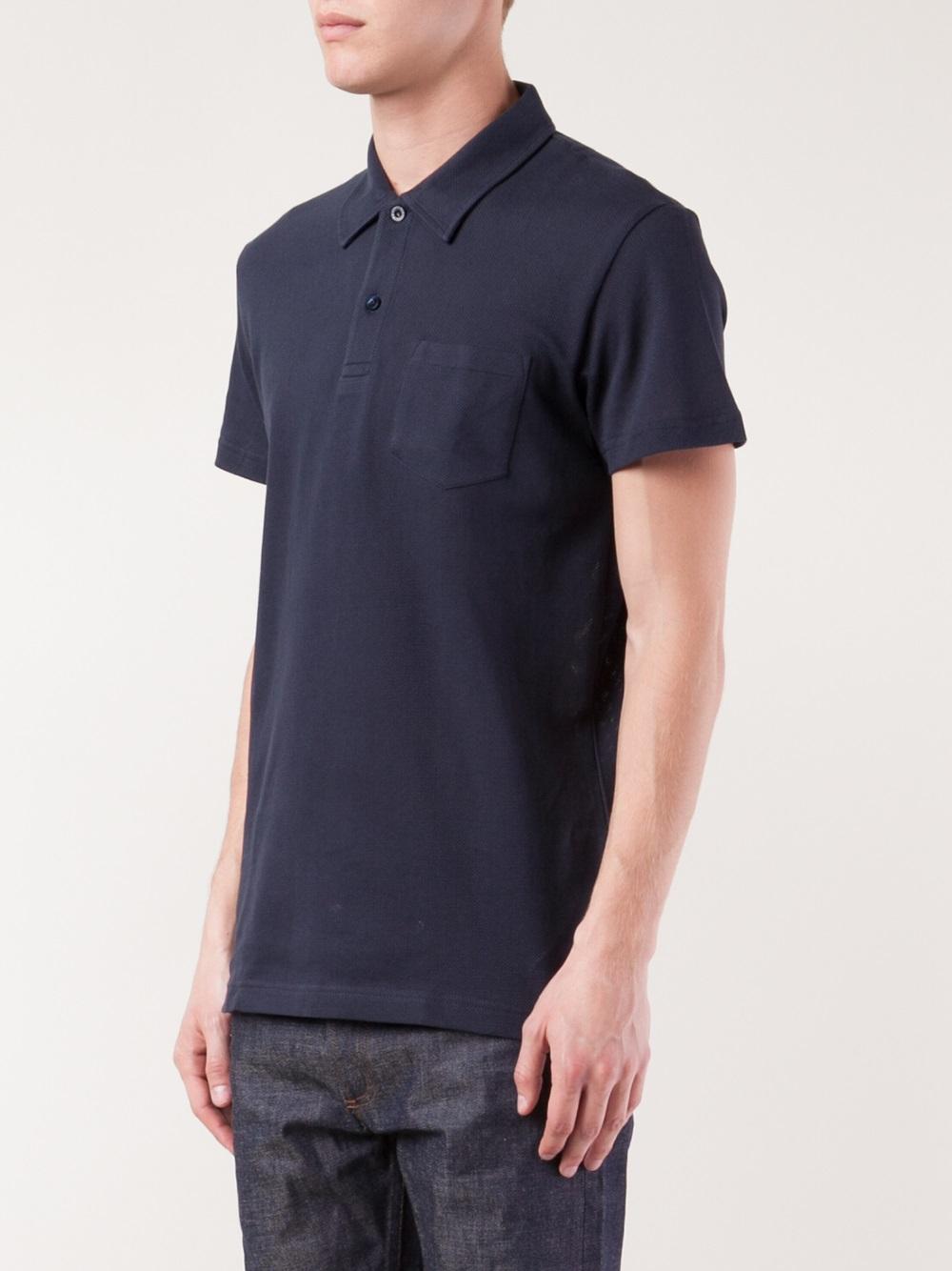 Lyst sunspel chest pocket polo shirt in blue for men for Men s polo shirts with chest pocket