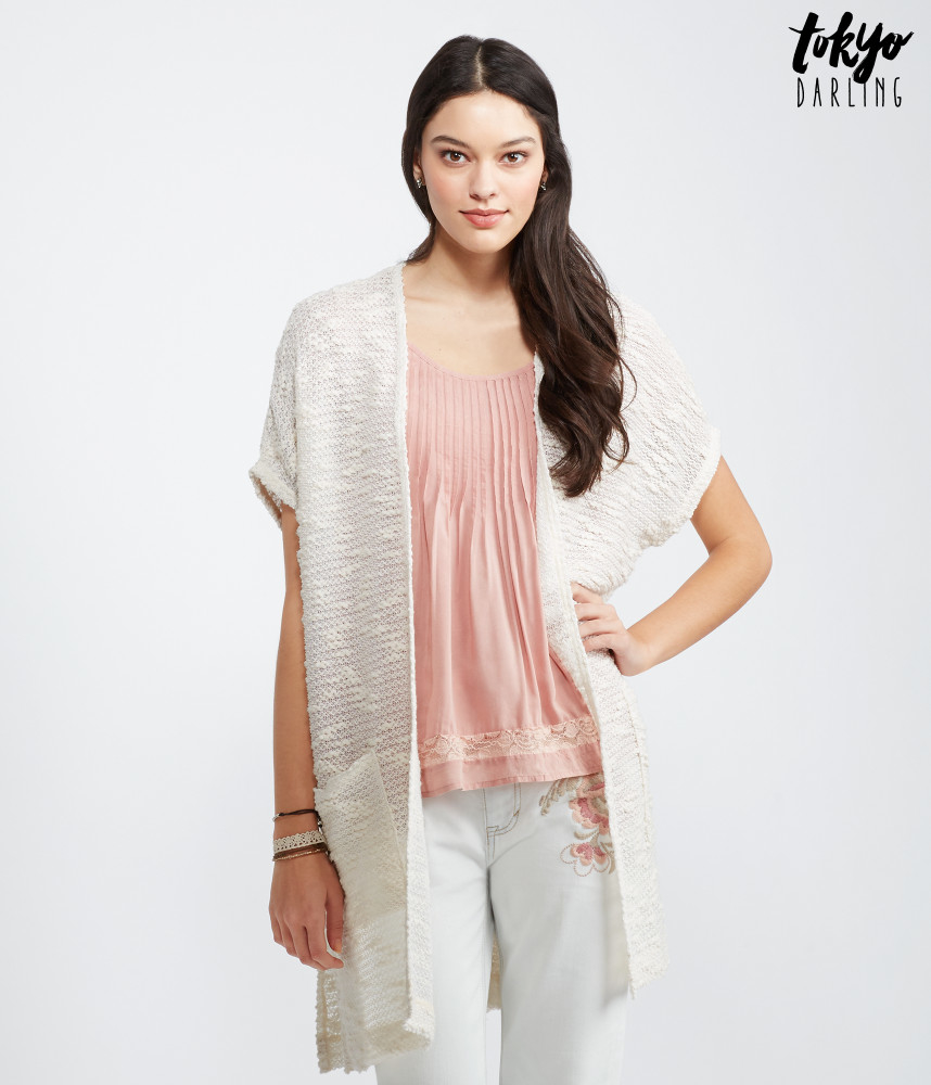 Tokyo darling Short Sleeve Oversized Slub-knit Cardigan in Natural ...