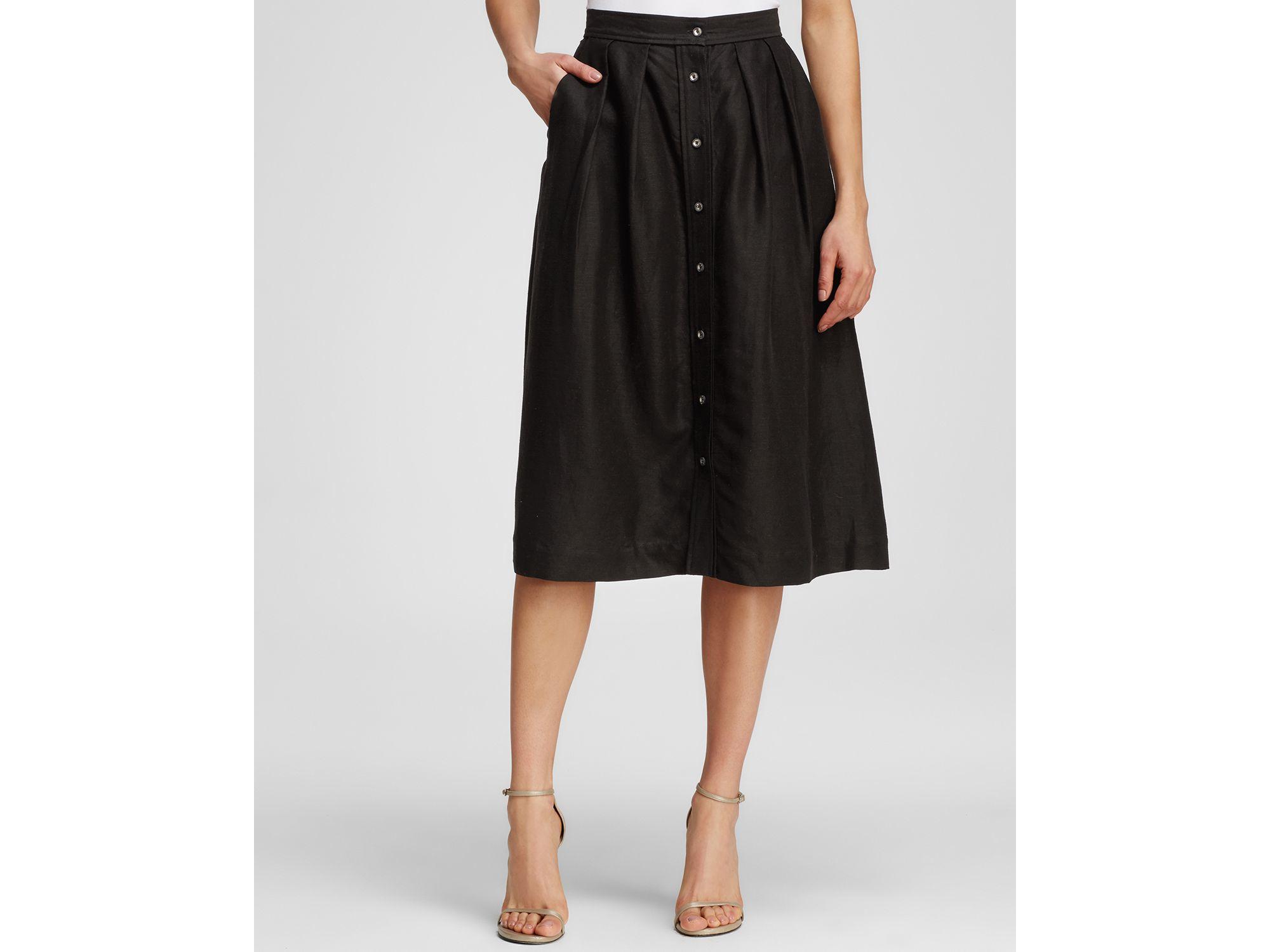 Milly Linen Button Down Midi Skirt in Black | Lyst