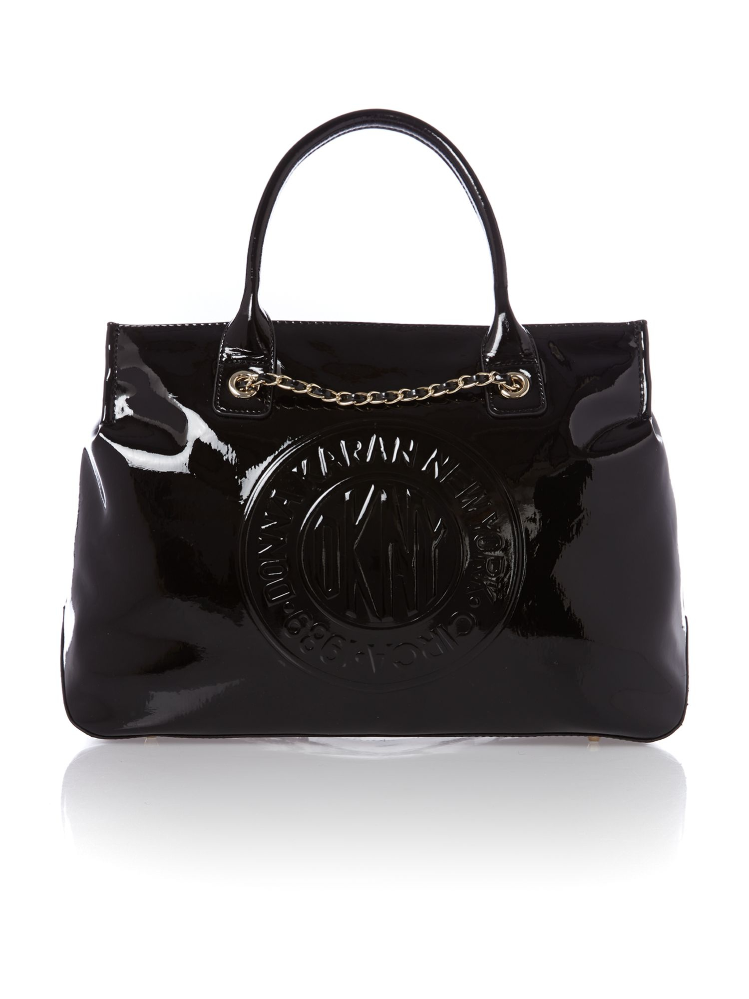 dkny patent black tote bag in black lyst