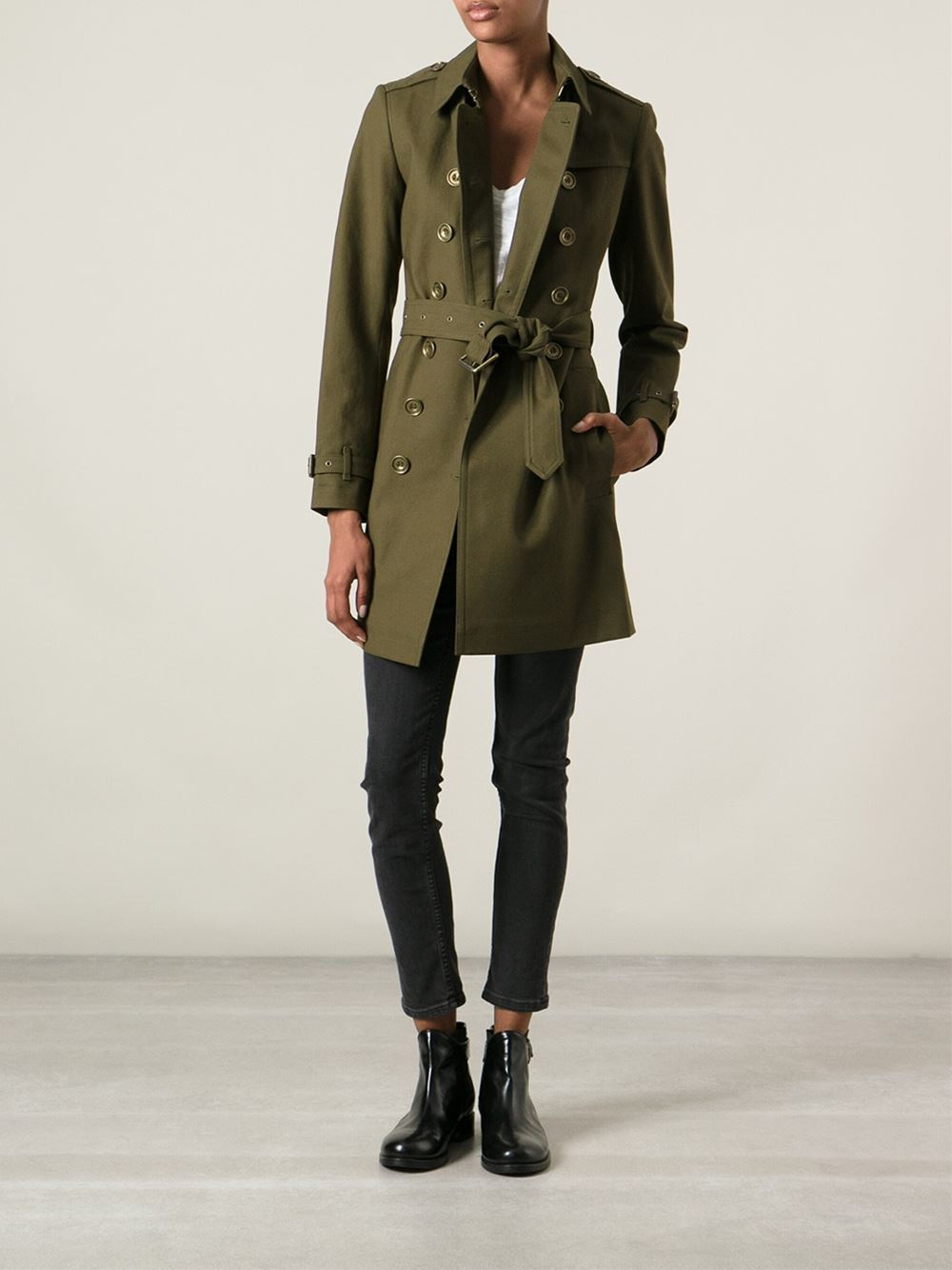 Lyst Burberry Military Trench Coat In Green