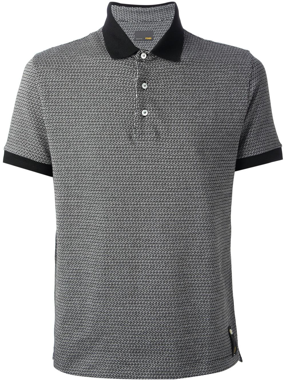 67330bfac82 Lyst - Fendi Monogram Print Polo Shirt in Black for Men