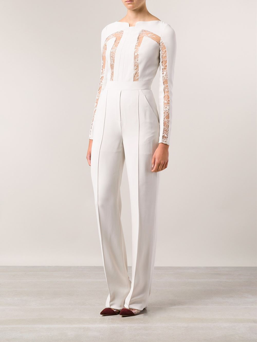 d24bf515bd7 Lyst - Elie Saab Lace Insert Jumpsuit in White