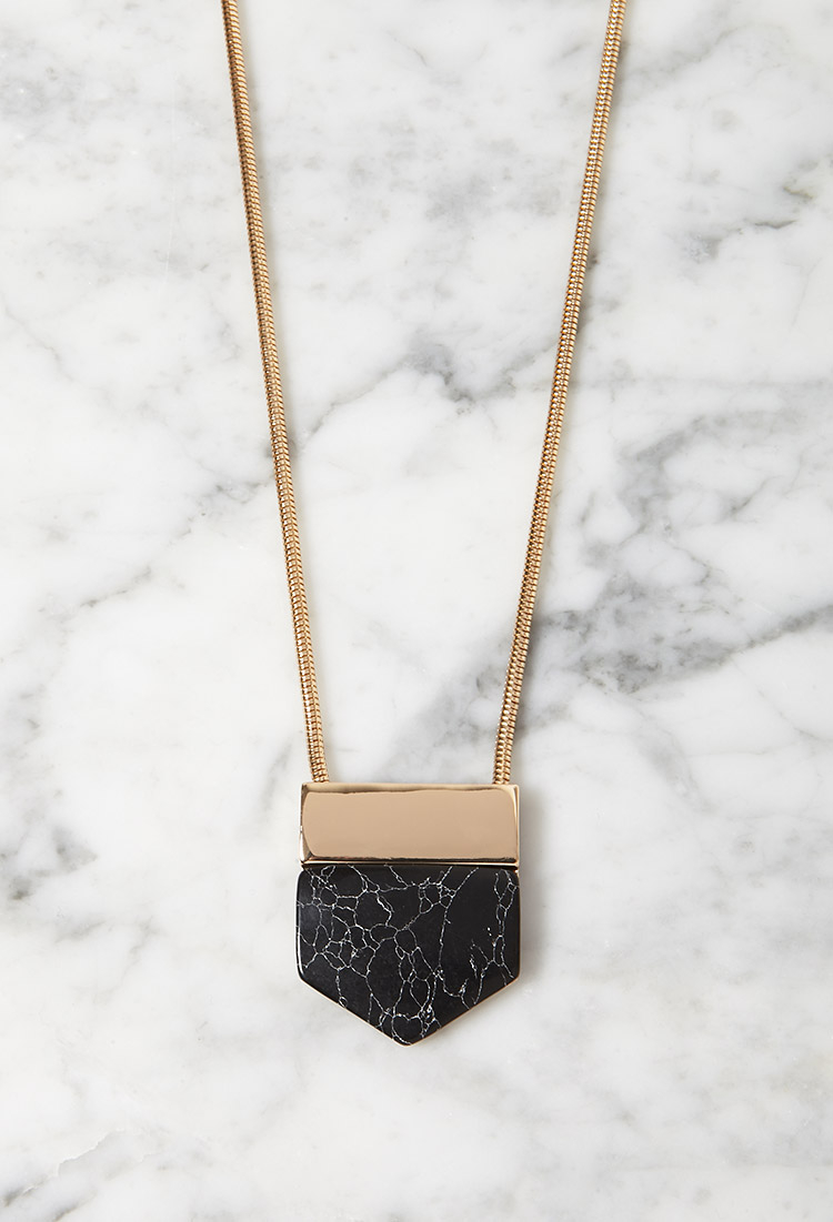 Lyst forever 21 angular faux marble pendant necklace in for How to make marble jewelry