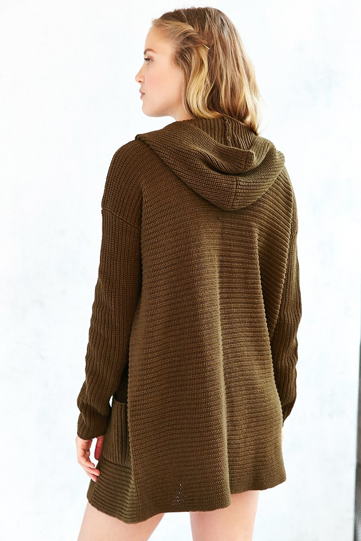 Kimchi blue Dylan Hooded Cardigan in Brown | Lyst