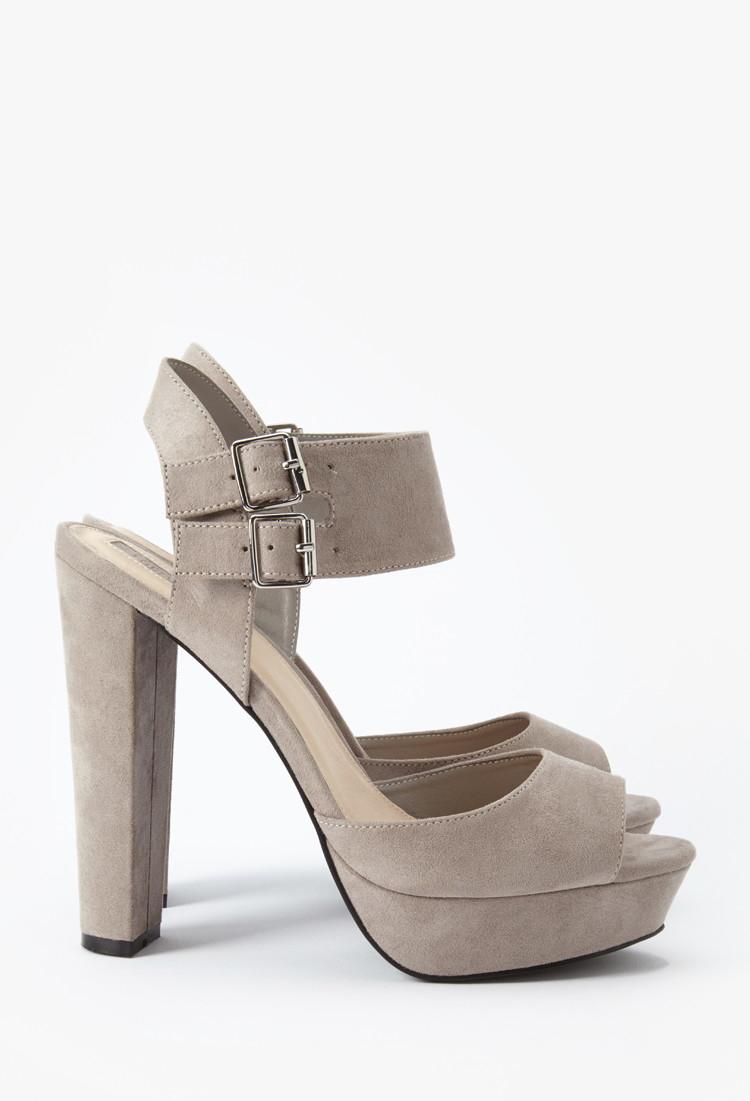 Forever 21 Platform Block Heel Sandals in Gray   Lyst