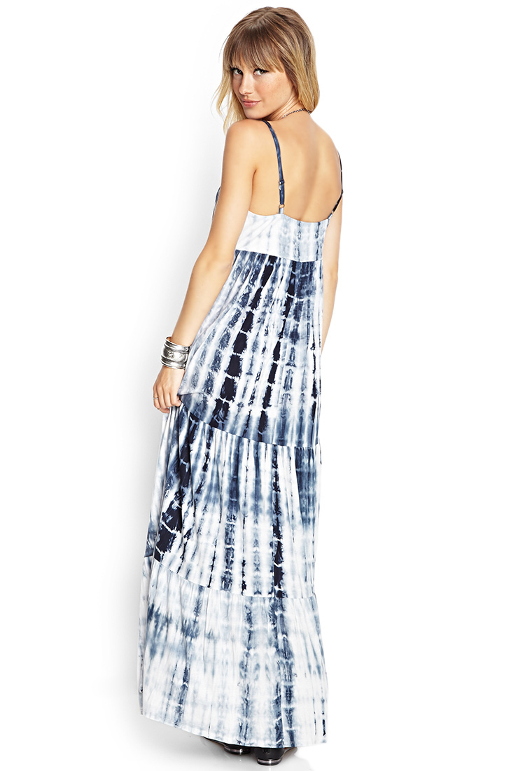 Forever 21 Tie-Dyed Maxi Dress in Blue | Lyst