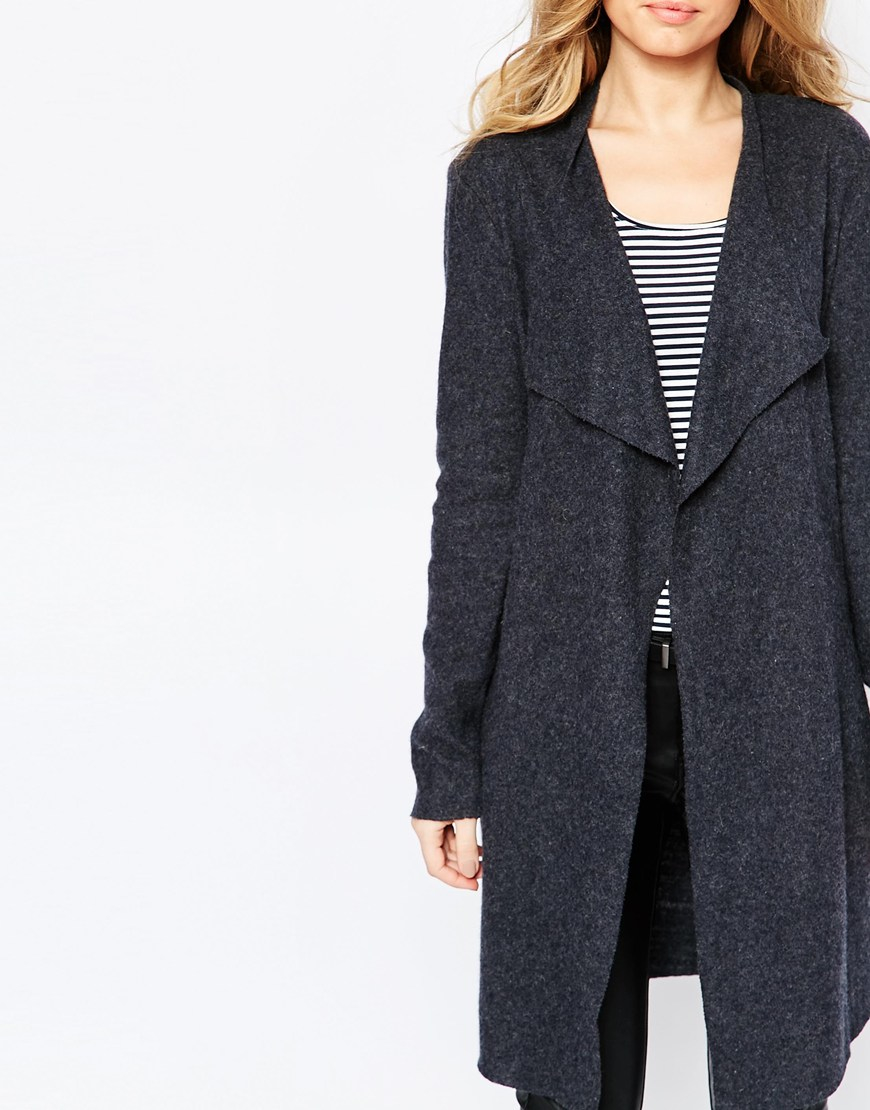 Y.a.s Evita Long Wool Cardigan in Blue | Lyst