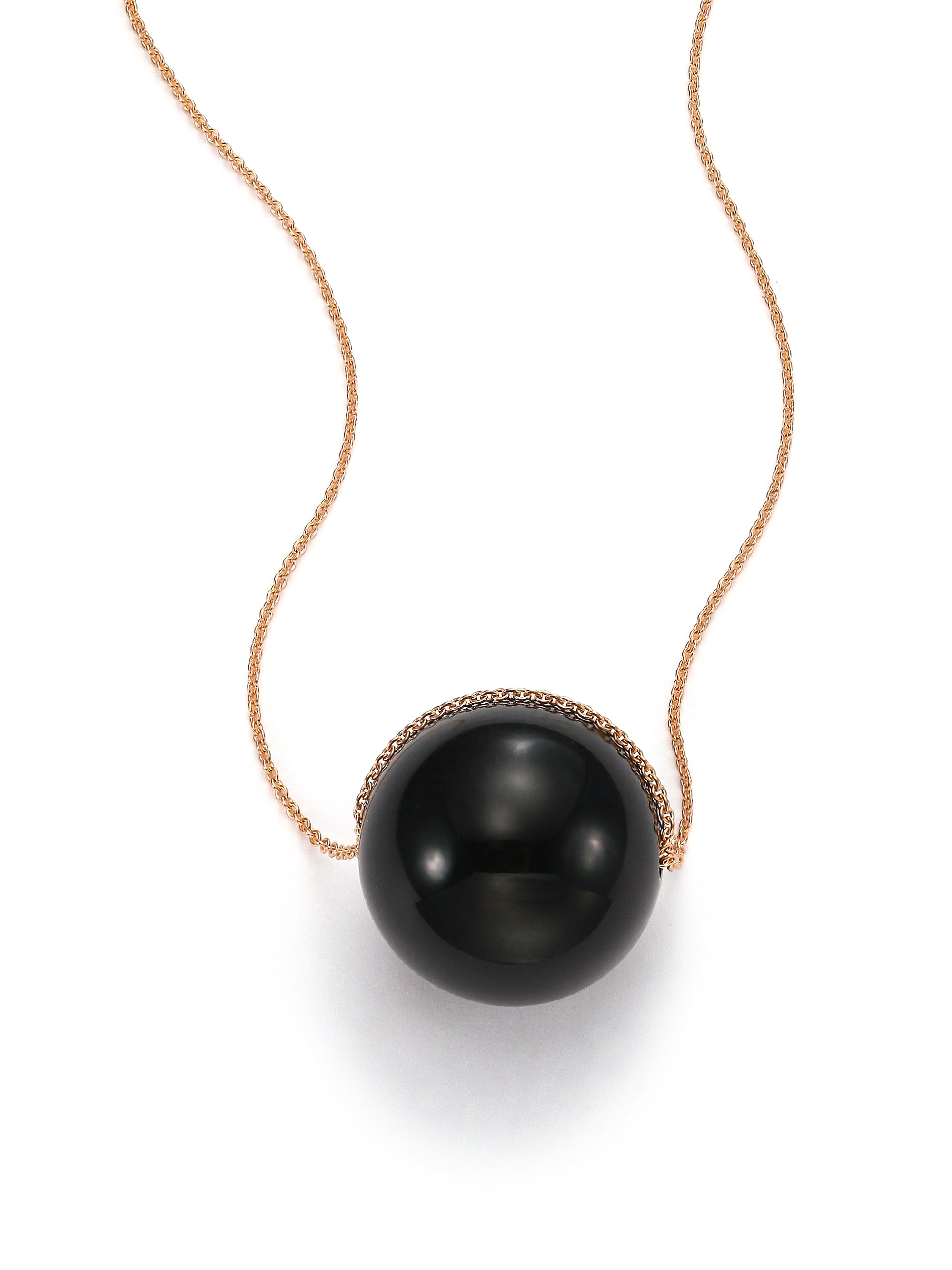Lyst ginette ny black moon onyx 18k rose gold pendant necklace gallery aloadofball Images