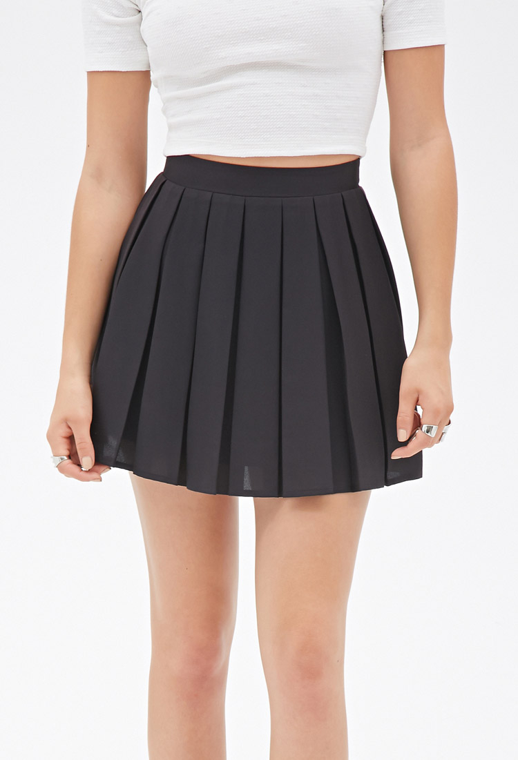 forever 21 box pleated mini skirt in black lyst