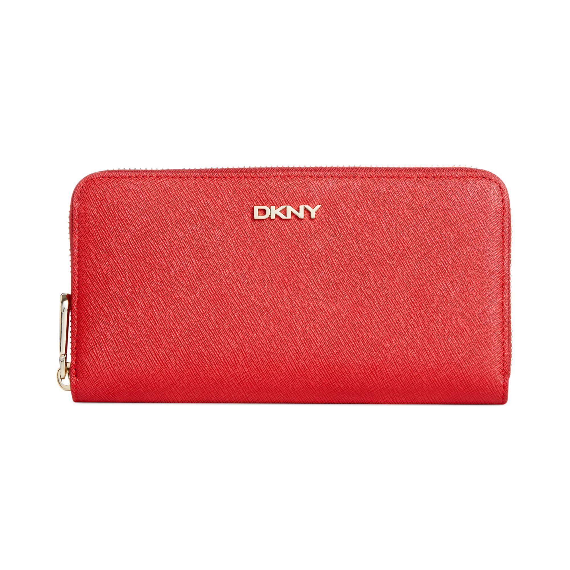 Dkny Saffiano Large Zip Wallet in Red | Lyst |Dkny Wallet