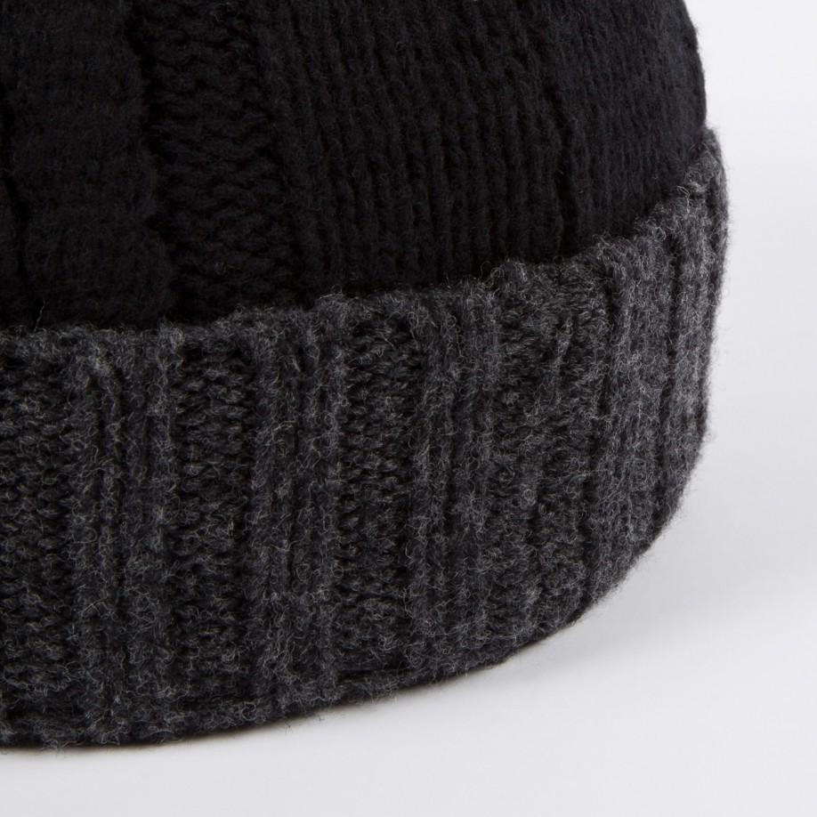 93c544d4076 Lyst - Paul Smith Men s Black And Grey Cable Knit Beanie Hat in ...