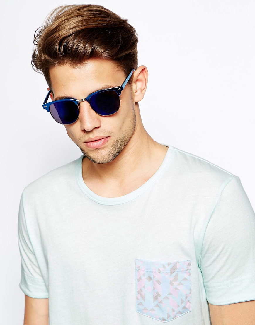 Men S Mirrored Sunglasses  ray ban clubmaster glasses asos