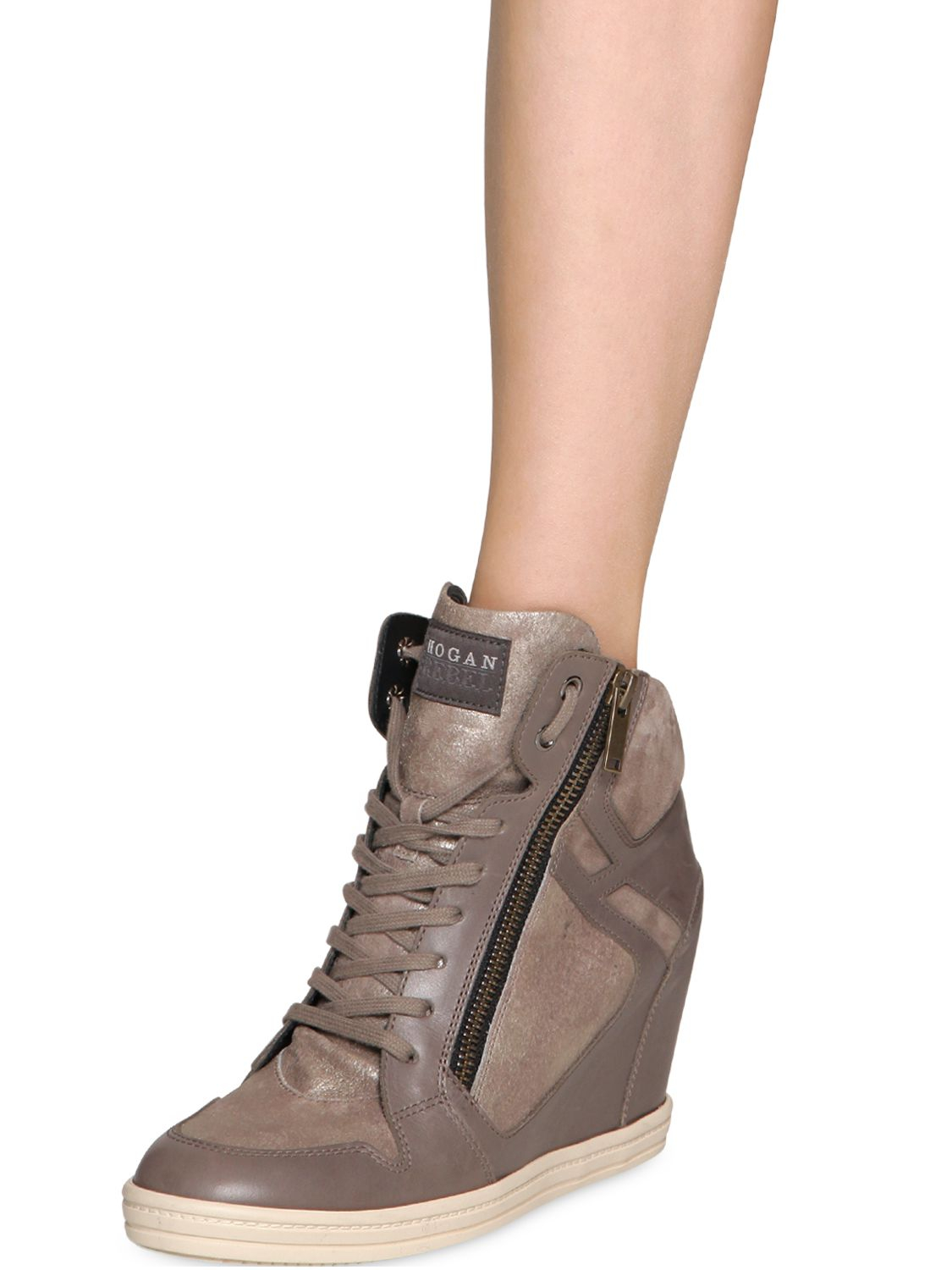 1f3fd78dac2a Lyst - Hogan Rebel 90mm Metallic Leather Wedge Sneakers in Gray