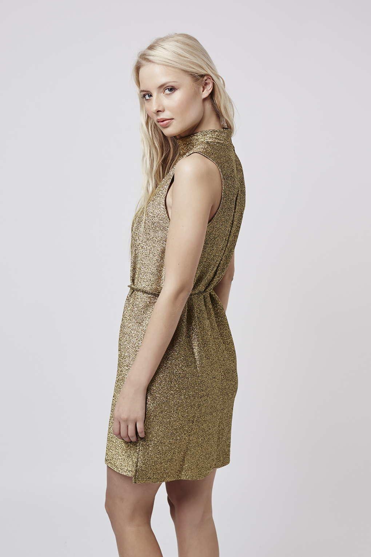 f517b1c8430 TOPSHOP Tall Metallic High-neck Tunic Dress in Metallic - Lyst