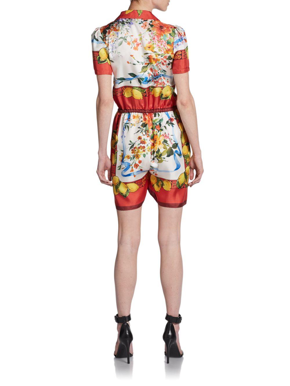 1b1f8262b9b Lyst - Dolce   Gabbana Silk Print Short Jumpsuit