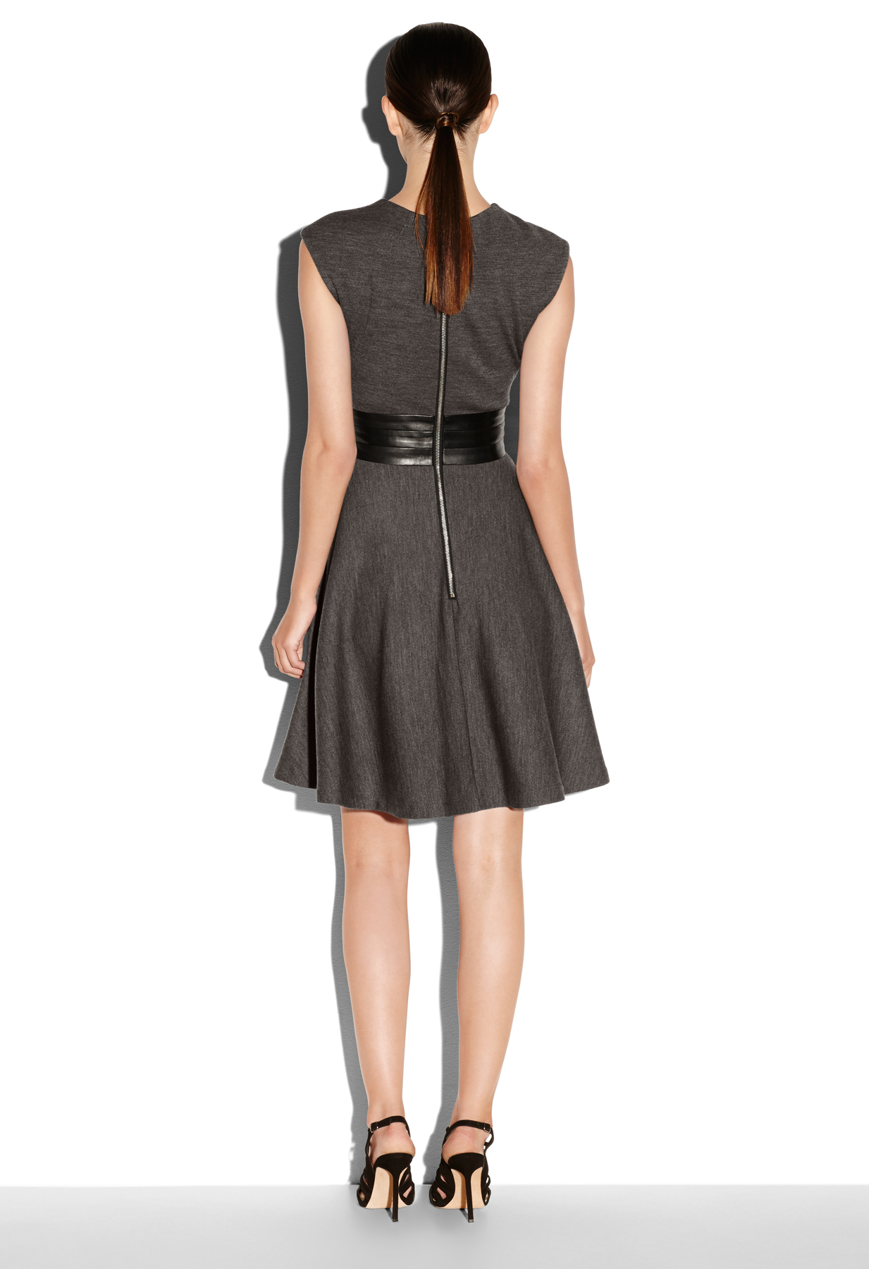 Milly Meagan Leather Waist Dress in Gray