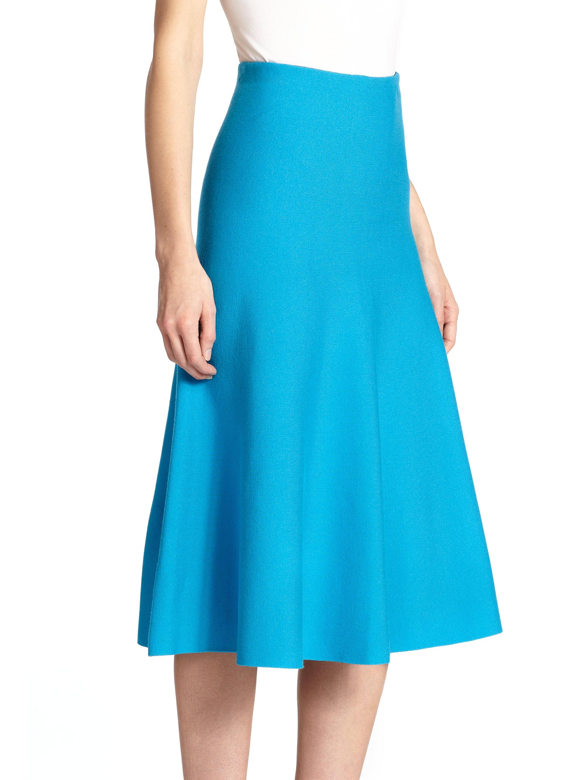 Rvn Knit Circular Midi Skirt in Blue | Lyst