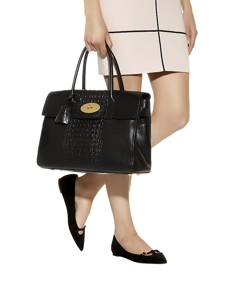 9a6729a772 where can i buy large black mulberry bayswater handbag lyst mulberry croc  print stripe bayswater tote