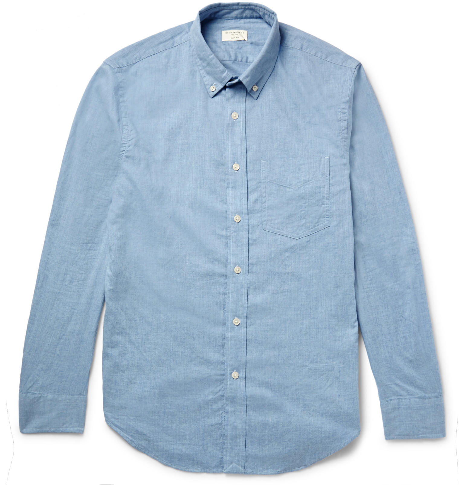 230b70a3308 Club Monaco Slim-fit Button-down Collar Cotton-flannel Shirt in Blue ...