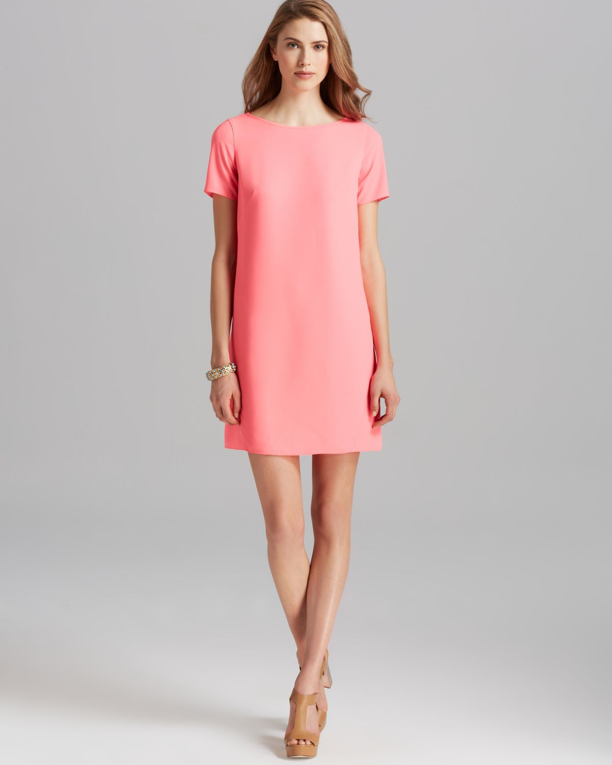 Shoshanna Dress Short Sleeve Crepe Open Back Shift in Pink | Lyst