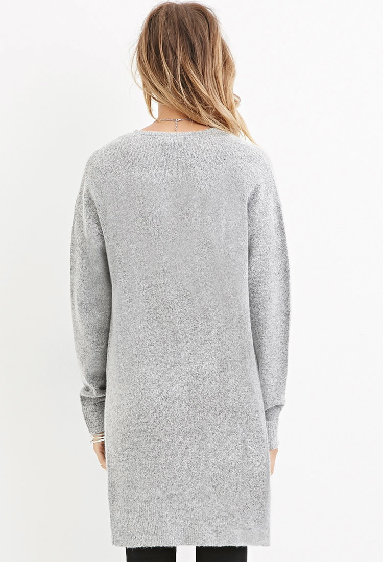 Forever 21 Textured Longline Cardigan in Gray   Lyst