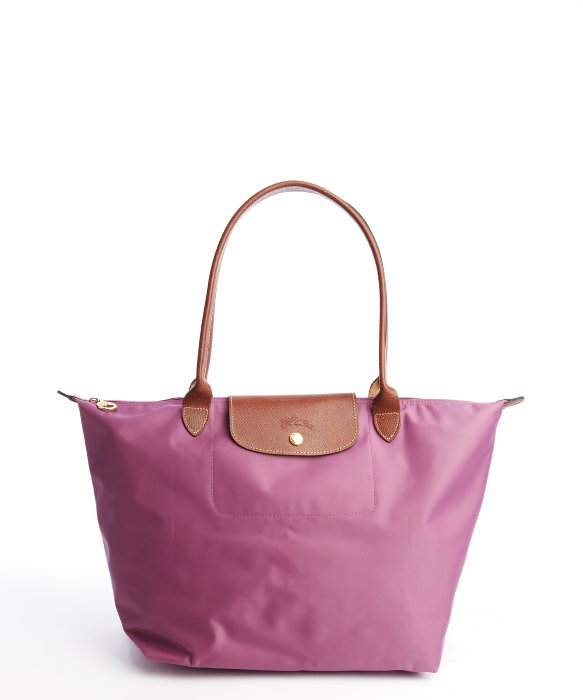 Longchamp Lavender Nylon Le Pliage Large Shopper Tote In