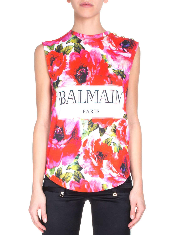 balmain sleeveless floral print logo tee in pink lyst. Black Bedroom Furniture Sets. Home Design Ideas