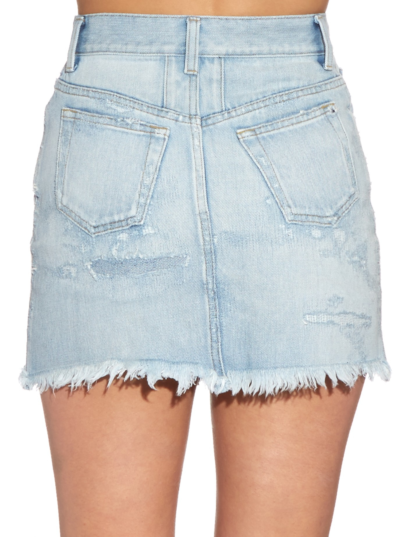 Saint laurent Distressed Denim Mini Skirt in Blue | Lyst
