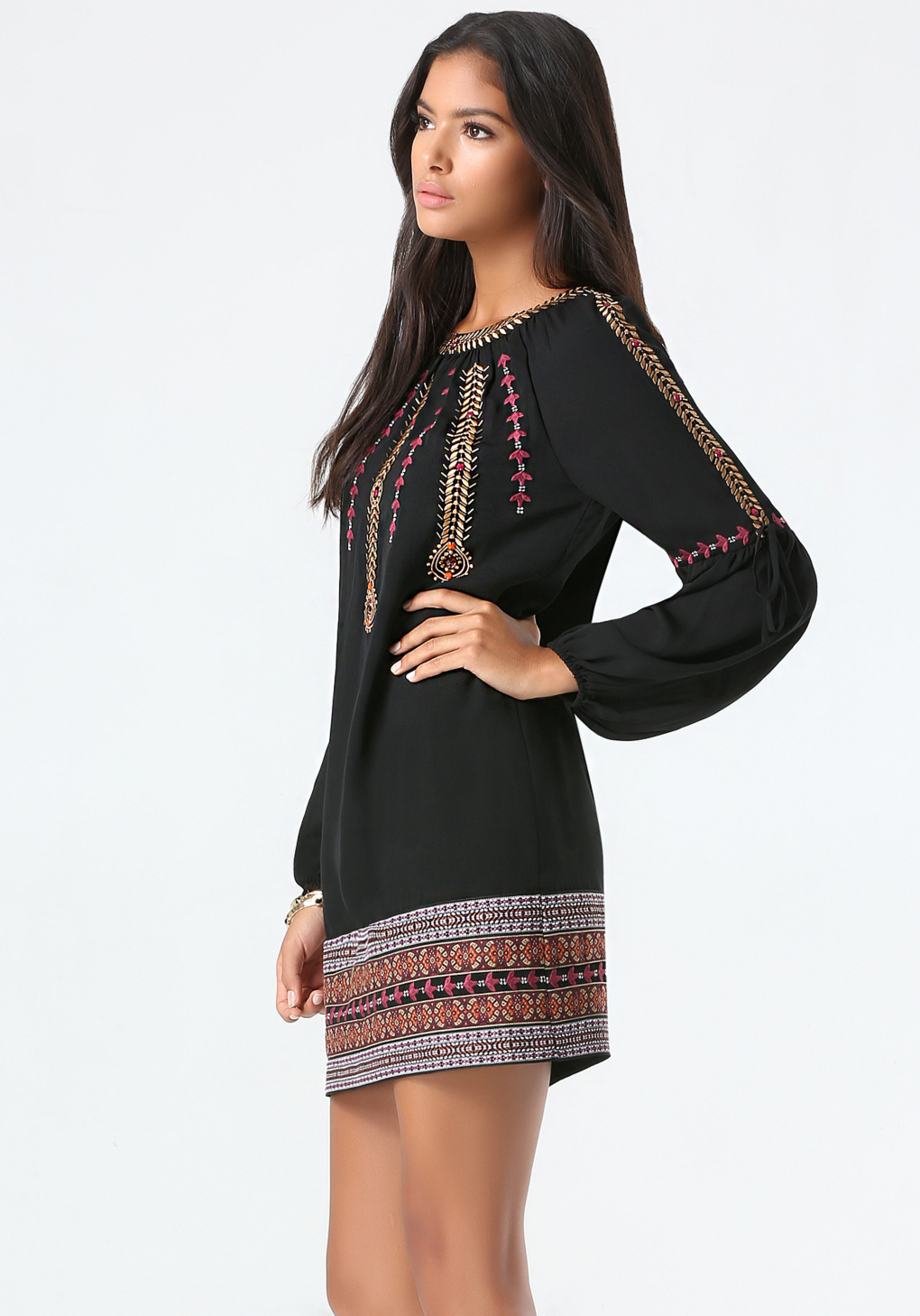 3838aa249703c Bebe Embroidered Shift Dress in Black - Lyst