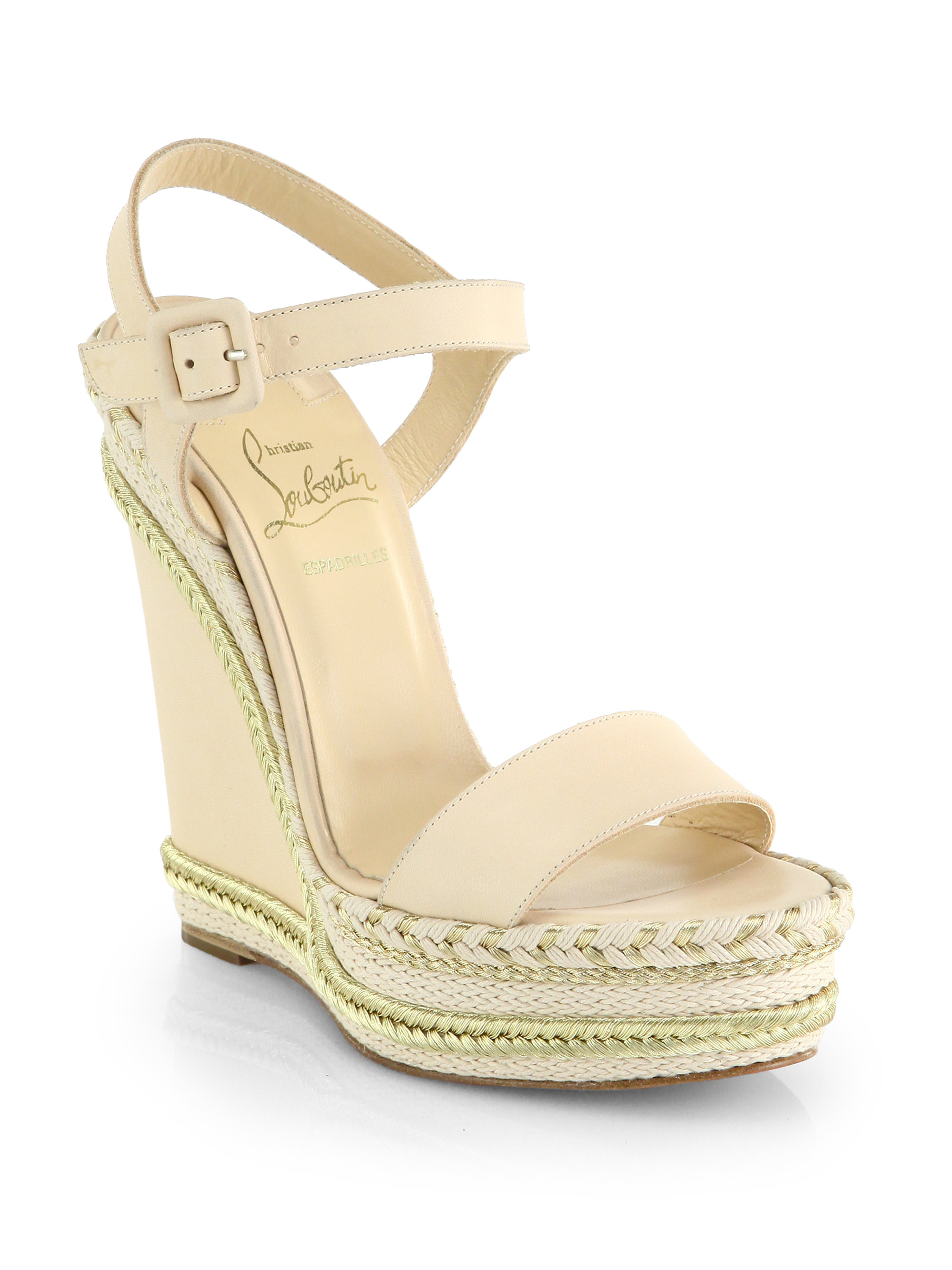 2674c46e83c Lyst - Christian Louboutin Duplice Leather Espadrille Wedge Sandals ...