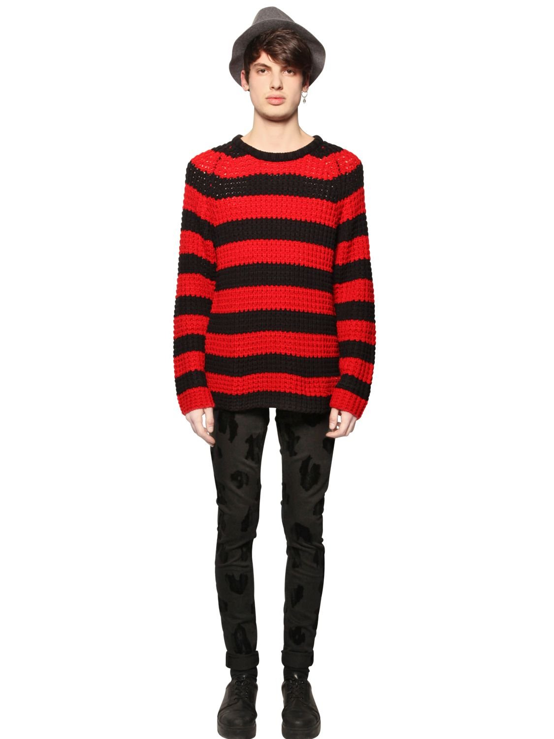 Cheap monday Striped Waffle Knit Sweater in Black for Men | Lyst