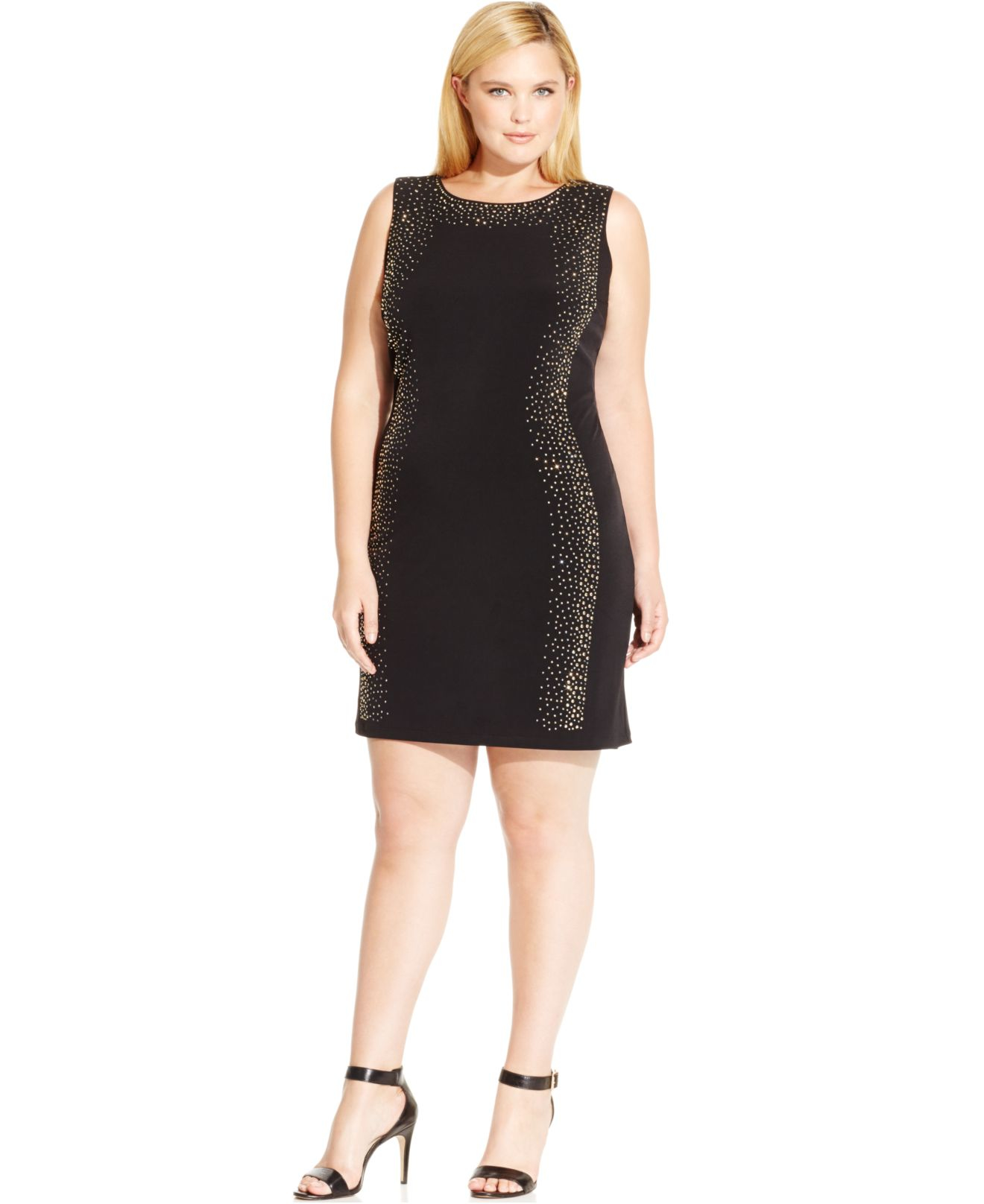 4cf0e895 Lyst - Calvin Klein Plus Size Studded Bodycon Dress in Black