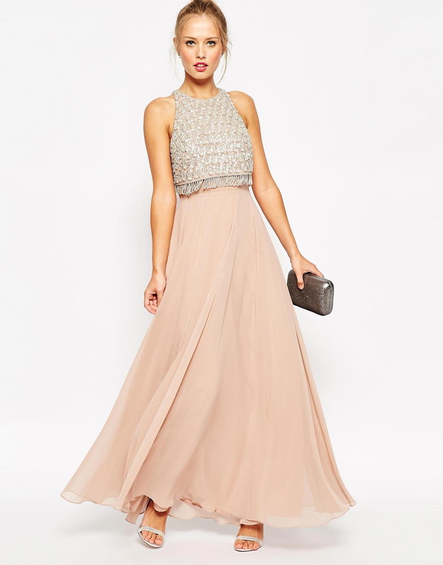 Asos Embellished Crop Top Maxi Dress In Pink Lyst