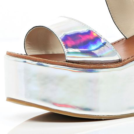 River Island Silver Holographic Flatform Sandals In Silver