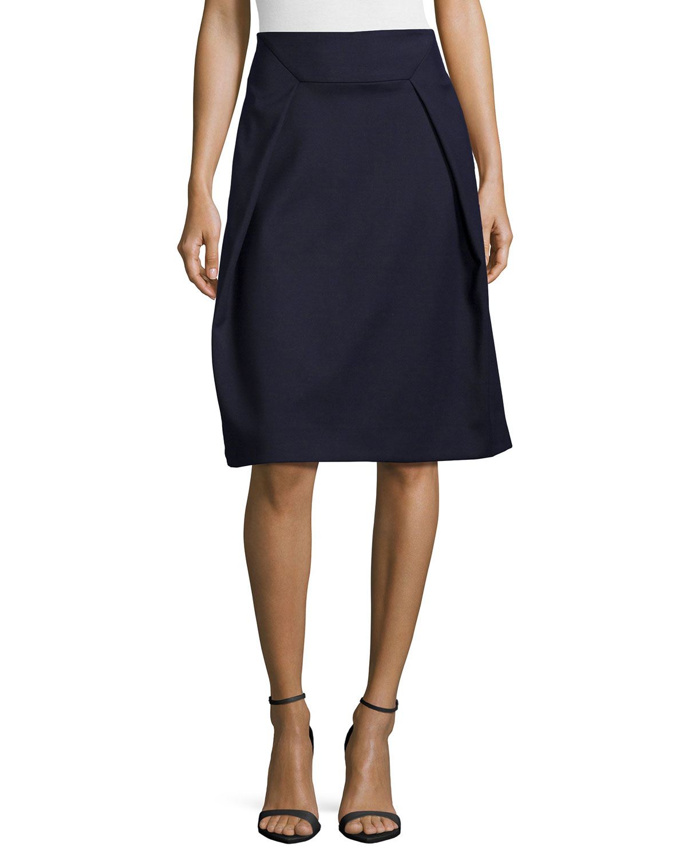tibi nanook pleated a line skirt in blue lyst