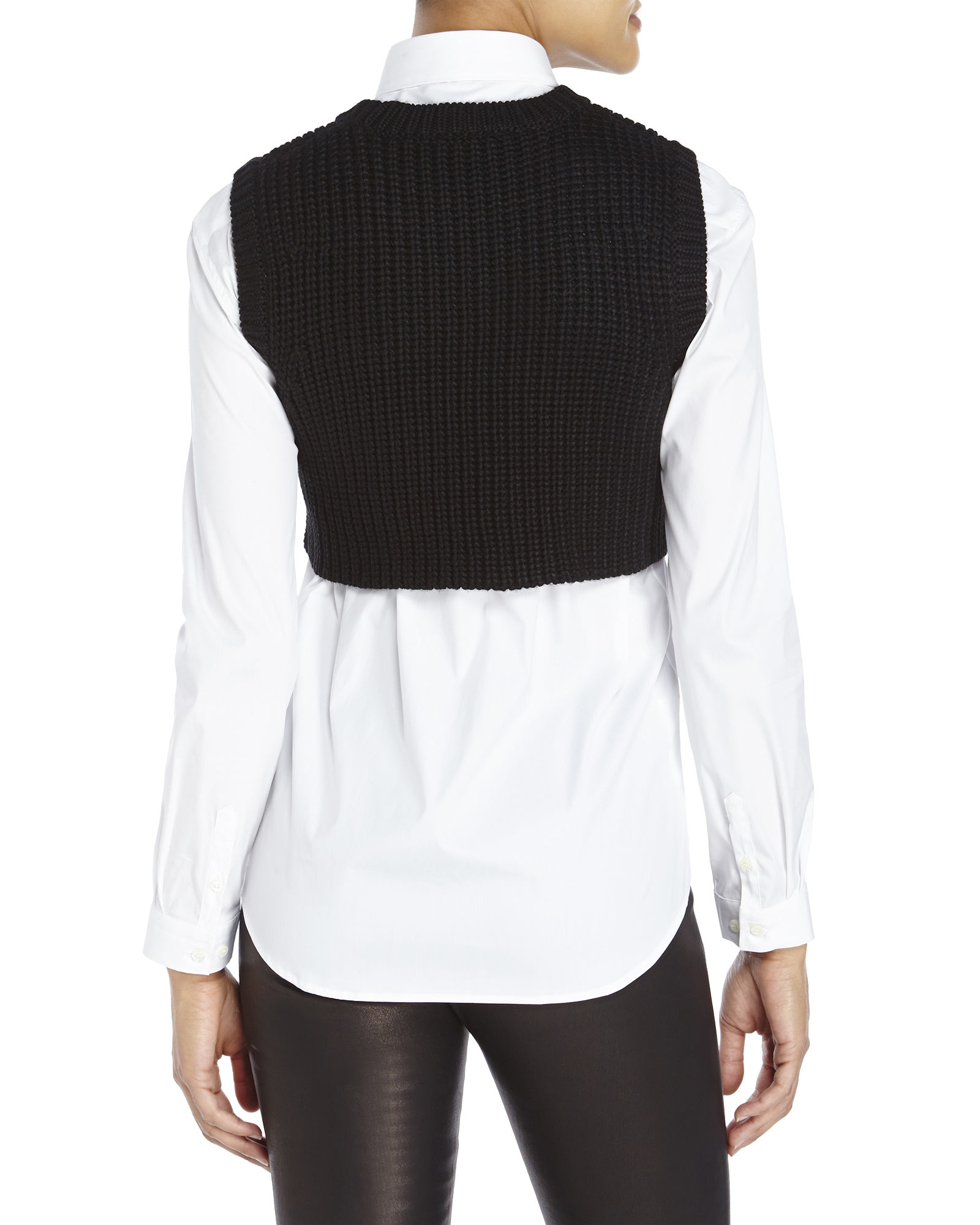 Neil barrett Sleeveless Crop Sweater in Black | Lyst