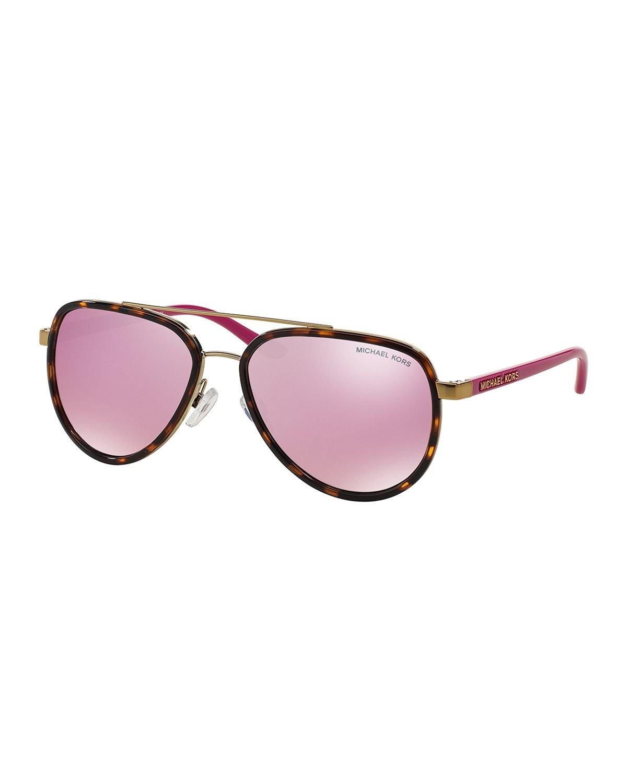 Lyst Michael Kors Acetate Mirrored Aviator Sunglasses In