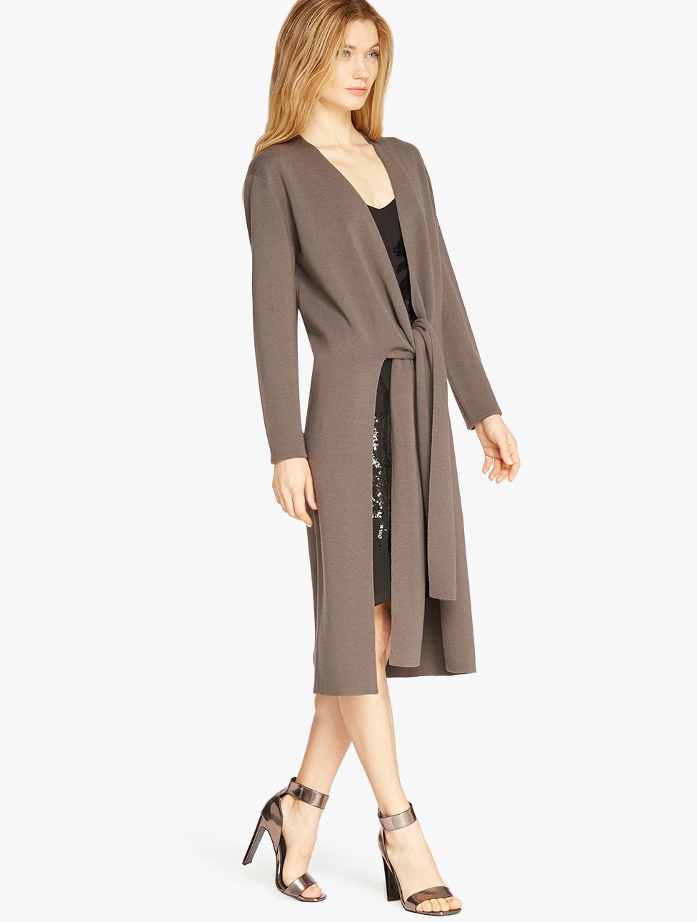 Halston Merino Wool Duster Cardigan in Gray | Lyst