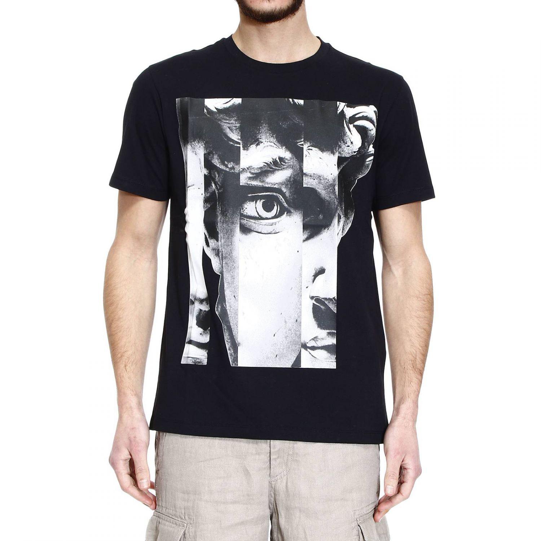 Emporio Armani T Shirt Half Sleeve Crew Neck Print Statue