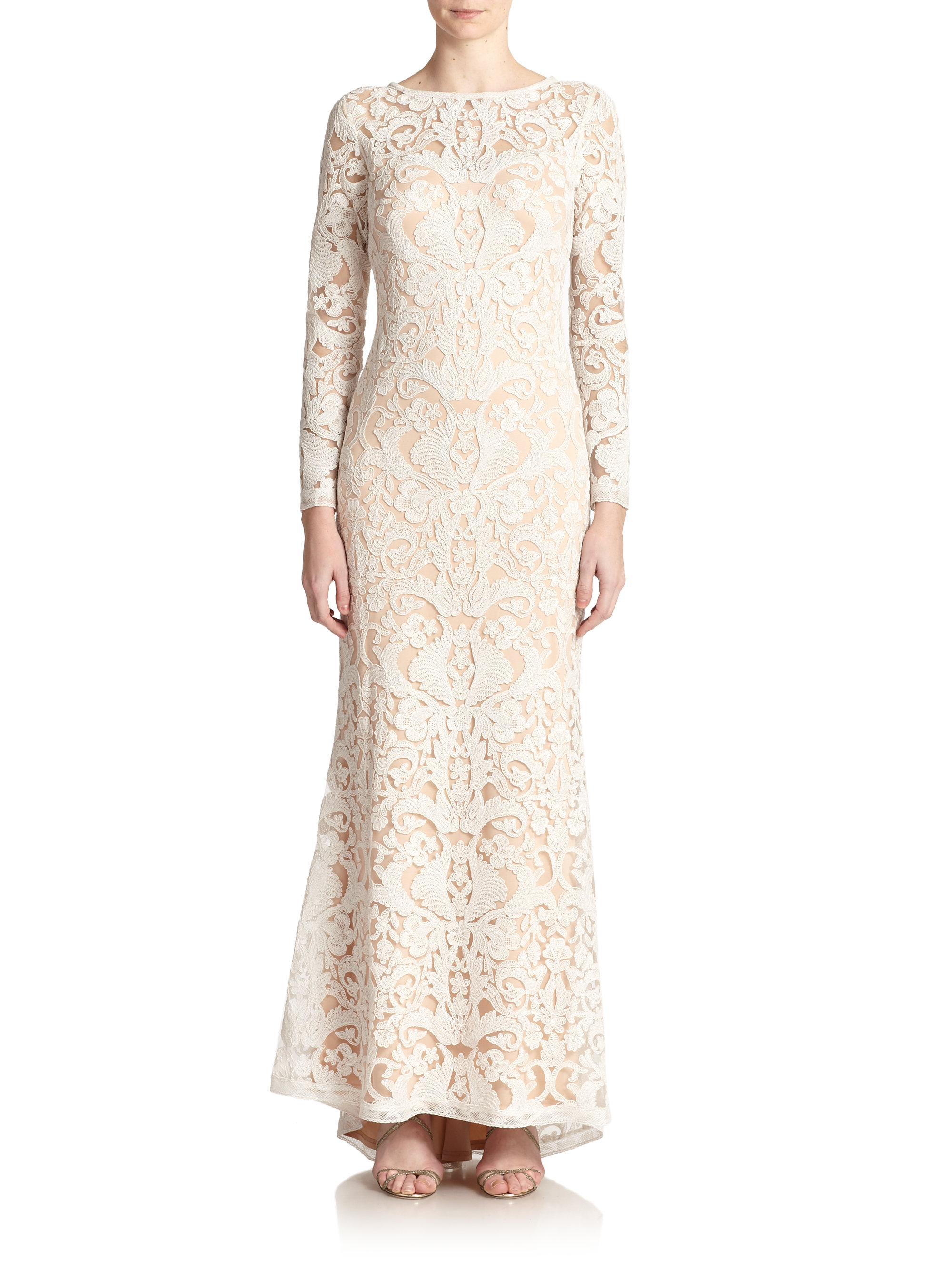 b68950f9036 Tadashi Shoji Cord-embroidered Lace Gown in White - Lyst