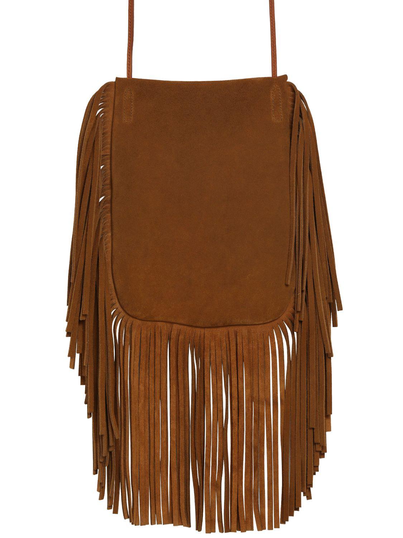 b19ad2806b82 Saint laurent Anita Suede Shoulder Bag With Feathers in Brown (TAN ... anita  mini flat ...
