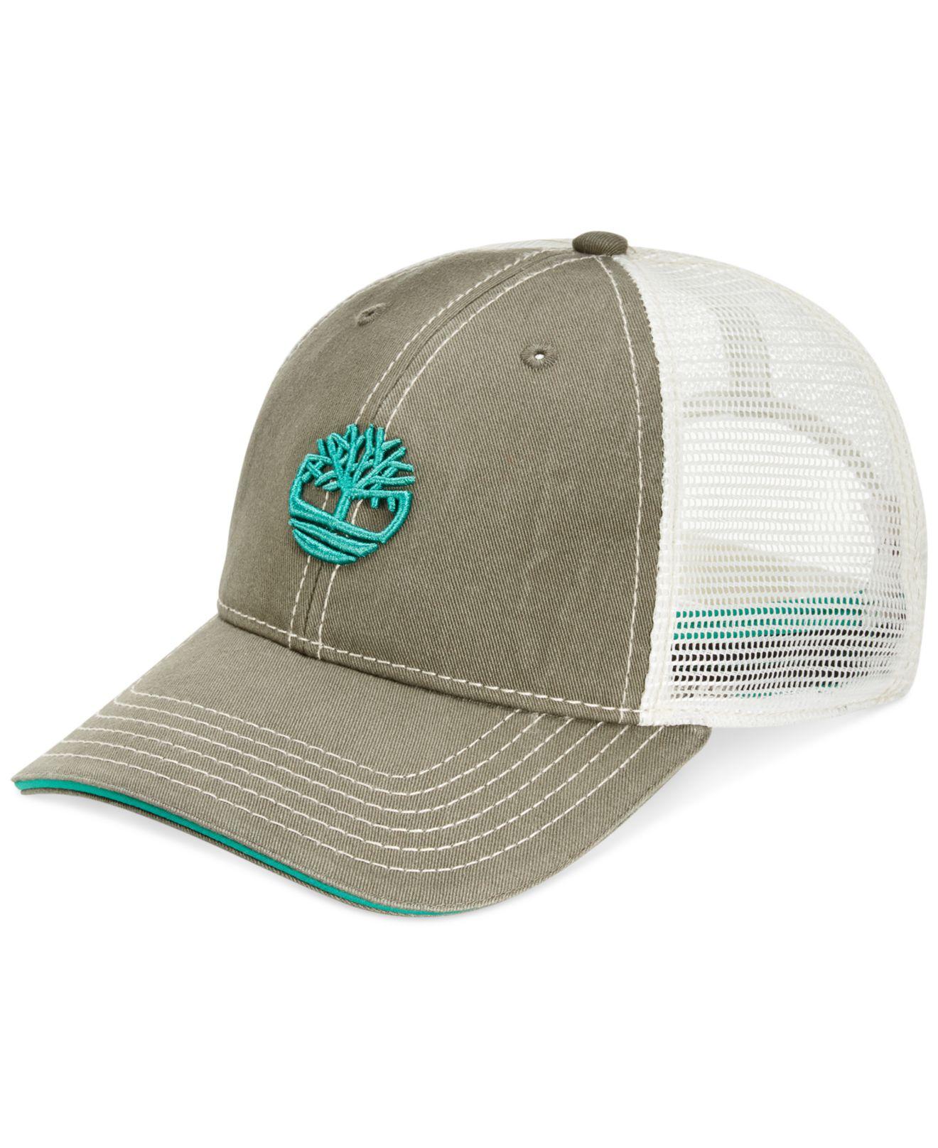 6cdb8f6d Timberland Cotton Twill Trucker Hat in Green for Men - Lyst