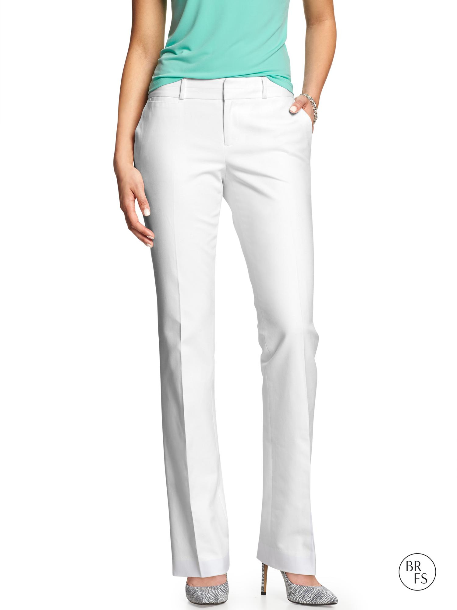 Shop Banana Republic's Ryan Slim Straight-Fit Machine-Washable Bi-Stretch Pant: Made with our favorite bi-stretch fabric with excellent stretch and recovery to smooth and sculpt your shape.,A sleek new pant in a modern fit. The Ryan offers a leg-lengthening slim-straight silhouette.,Straight-cut waistband. Zip fly with hook-and-bar closure.