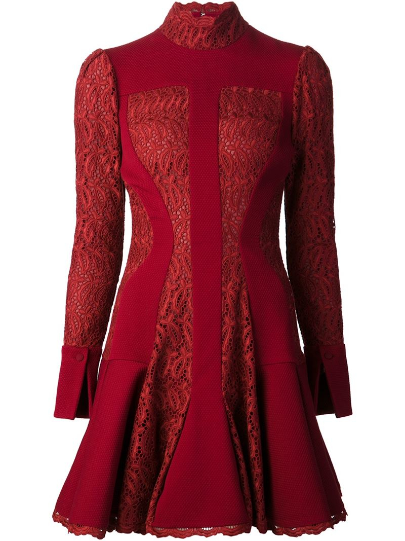 Lyst Alexander Mcqueen Broderie Anglaise Dress In Red
