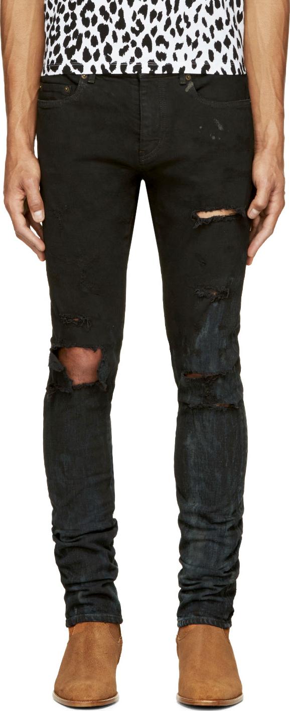 Saint laurent Black Destroyed Denim Slim Fit Jeans in Black for ...