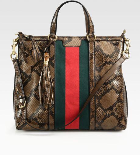 Gucci Rania Python Top Handle Bag in Animal (brown)