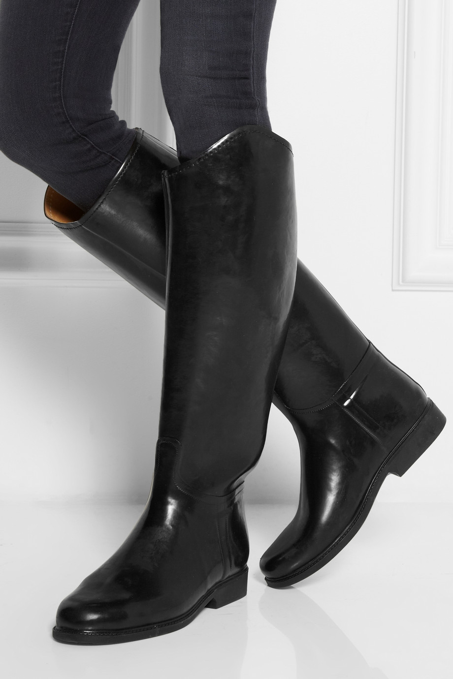 Le chameau Alezan Leather-Lined Rubber Riding Boots in Black | Lyst