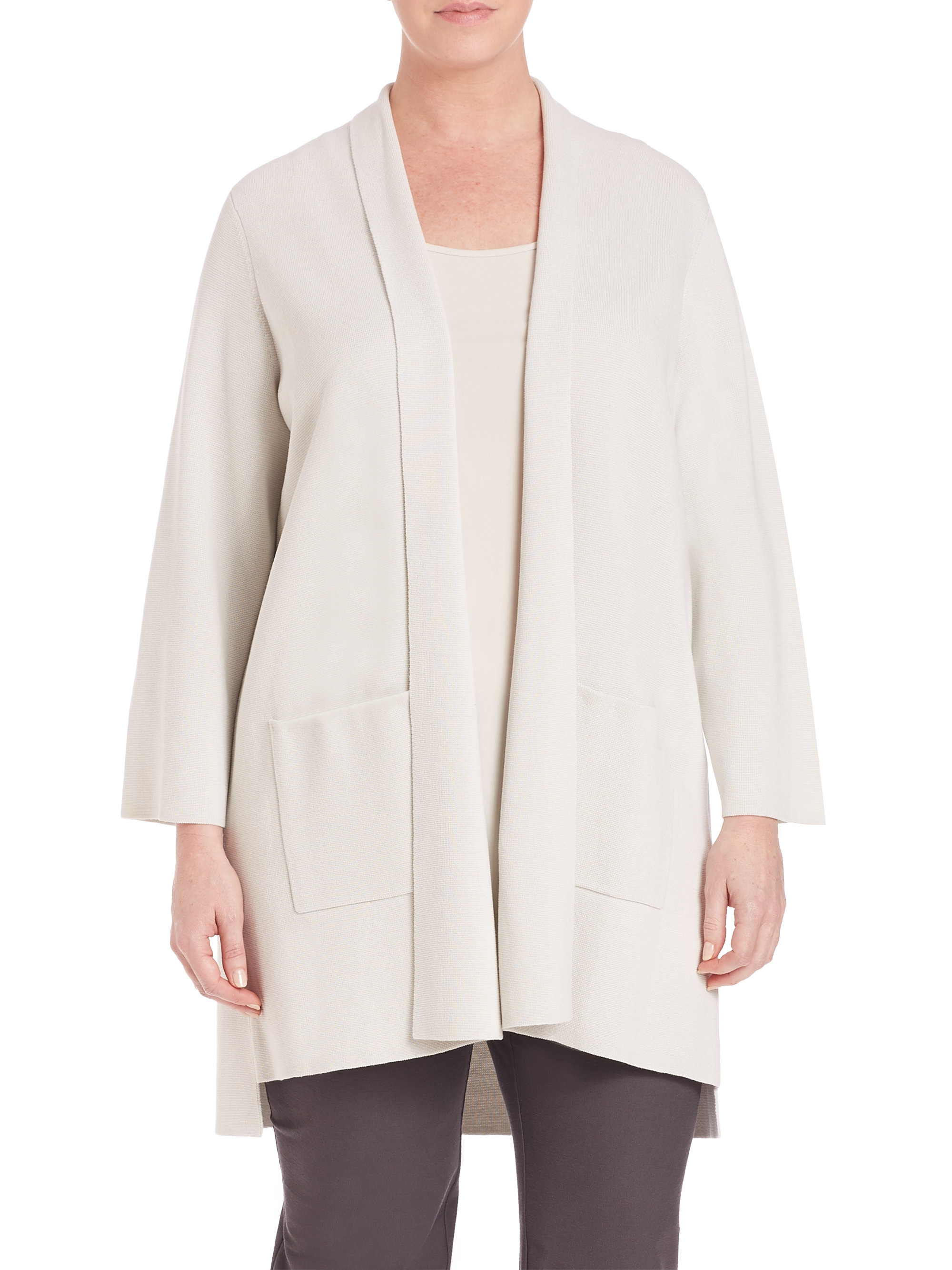 Eileen fisher Silk & Cotton Interlock Kimono Cardigan in Black | Lyst
