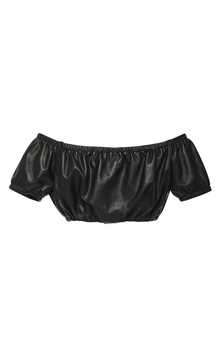 fa993955b491be Lyst - Alexander Wang Leather Off-The-Shoulder Crop Top in Black
